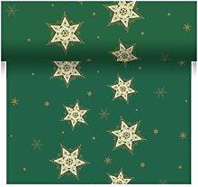Duni Dunicel Tête á Tête Tischläufer Glittering Stars Green 0,4 m x 24 m