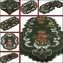 Dunkel-Grün Weihnachten Mitteldecke Tischdecke Leinen-Optik mit Rot Kerzen Stickerei (ca. 60 cm Rund)