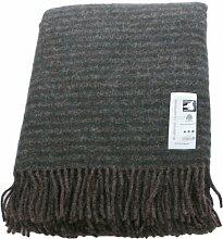 Dunkelbraune Wolldecke mit grünen Streifen aus 100% skandinavischer Schurwolle, ca 200x130cm mit Fransen, 860g