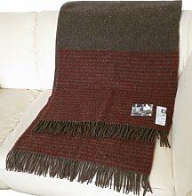 Dunkelbraune Wolldecke mit roten Streifen aus 100% skandinavischer Schurwolle, ca 200x130cm mit Fransen, 860g