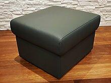 Dunkelgrau Echtleder Hocker aufklappbar mit Stauraum Sitzhocker Rindsleder Sitzwürfel 60x55 Fußhocker Polsterhocker Echt Leder Puff