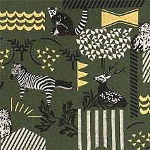 Dunkelgrünes Wachstuch mit Tieren und goldenen