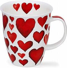 Dunoon Becher, Tasse Nevis HEARTS mit Herzen weiß
