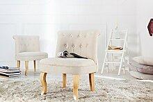 DuNord Design Barock Sessel beige Polsterstuhl