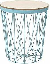 DuNord Design Beistelltisch blau 43cm Eiche Metall