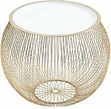 DuNord Design Beistelltisch Gold weiß 41cm Metall