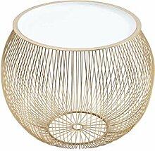 DuNord Design Beistelltisch Gold weiß 51cm Metall