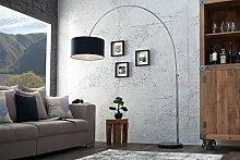 DuNord Design Bogenlampe LATE LOUNGE schwarz Leinen