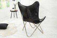 DuNord Design Butterfly Sessel Stuhl TEXAS Echtleder schwarz Eisen Loungesessel Designchair
