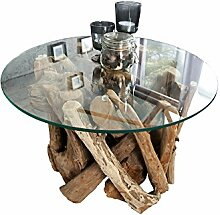 DuNord Design Couchtisch rund Treibholz massiv