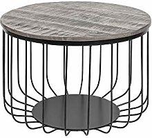 DuNord Design Couchtisch schwarz grau Akazie 56cm