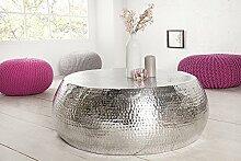 DuNord Design Couchtisch silber rund Beistelltisch