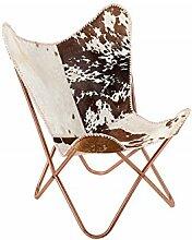 DuNord Design Sessel Stuhl TEXAS echt Fell braun