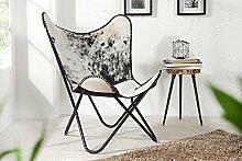 DuNord Design Sessel Stuhl TEXAS Kuhfell schwarz