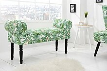 DuNord Design Sitzbank Polsterbank PROVENCE 100cm grün Blätter florale Retro Design Bank
