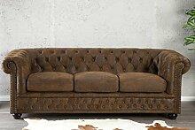 DuNord Design Sofa Couch CHESTERFIELD 3er braun antik look Design Polster Möbel England