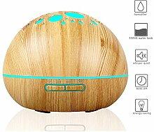 DUNQI Aroma Diffuser Luftbefeuchter 300ML Ultraschall Holzmaserung Duftlampe Humidifier Nebel Befeuchter ätherisches Öl Diffusor LED-Farblichtwechsel