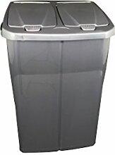 Duo Bin Mülleimer Mülltrennsystem Abfalleimer Müllbehälter Abfallbehälter 45 L (Anthrazit)
