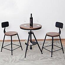 DUO  Fußbank Bar Chair Schmiedeeisen Freizeit Stühle Runde Tische und Stühle Kombination Sofa Hocker ( Farbe : B+B+E )