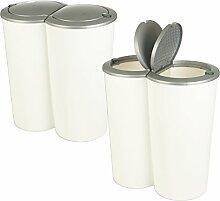 Duo-Mülleimer, rund, weiß mit grauem Deckel,