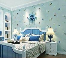 DUOCK Blaue mediterrane Kinderzimmer-Tapete Junge