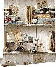 DUOCK Vintage Bücherregal Holz Tapete Weiß/Grau