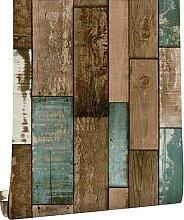 DUOCK Vintage Holz Plank Tapete für Wände 3D