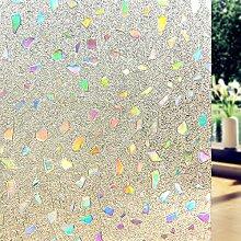DUOFIRE Fensterfolie Privatsphäre 3D Dekorfolie Sichtschutzfolie Ohne Kleber Selbstklebend Glas Fenster Aufkleber Anti-UV Folie (90cm X 200cm, DL005)