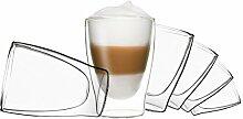 DUOS 6X 310ml doppelwandige Gläser, Latte