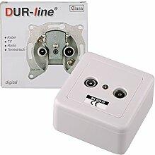 DUR-line 62810 Antennendose BK 10dB 2-Loch-Dose