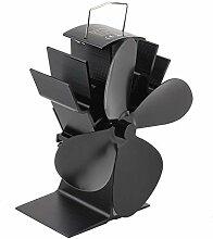 Durable 4 Blades Aluminium Black Heat Powered Herd
