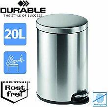DURABLE Treteimer Edelstahl 20 Liter   Design