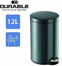 DURABLE Treteimer Schwarz 12 Liter   Design