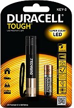 Duracell LED Taschenlampe mit Super Clear im Aluminium Gehäuse mit Schlüsselband KEY-3