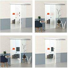 inova Schiebet/ür aus Glas 88x203cm hoch Streifen Milchglas Alu Set mit Schiebet/ürbeschlag Laufschiene und Griff