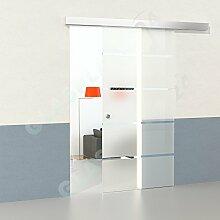 DURADOOR Glasschiebetürset aus Sicherheitsglas in 5-Streifendesign 2050mmx900mm Glasschiebetür auf Rollen Schiebetür Glastür Komplettset ESG-Schiebe-Innentür Glasschiebetüre Schwebetür Zimmertür Gleittüre Schiebetürsystem Hängesystem