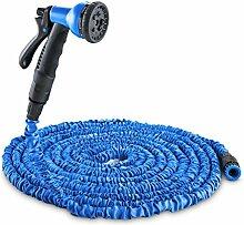 Duramaxx • Water Wizard • flexibler Gartenschlauch • Wasserschlauch • Flexschlauch • dehnbar bis 15 Meter • Bewässerung • 8 Funktionen • Sprühbrause • selbstaufrollend • Wasserhahn Adapter • Schnellkupplung • knickfest • federleicht • blau