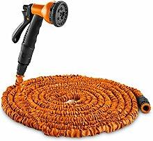 DURAMAXX Water Wizard 30 flexibler Gartenschlauch Bewässerungssystem Wasserschlauch inkl 8-Funktionen-Handsprühbrause, kein Knicken (30 m, selbstaufrollend, auf das 3-fach seiner Länge dehnbar) Orange