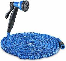 Duramaxx Water Wizard Bewässerungssysteme Gartenschlauch mit Sprühpistole (Brause mit 8 Funktionen, 30m Schlauch dehnbar, selbstaufrollend / zusammenziehend) blau