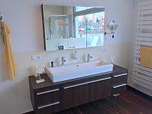 Duravit Badmöbel X-Large Kastanie, Vero Doppel-Waschtisch 120cm + Spiegelschrank
