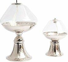 Durchsichtige Glaslampe mit Messingbasis, D 10 x H 14 cm (3.93 x 5.52 inc.)