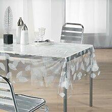 Durchsichtige Tischdecke Cristal, rechteckig, 140 x 240 cm, Blatt, weiß
