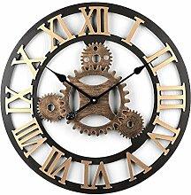 DUS Wanduhr Zahnrad Holz Vintage Gross Uhr ohne