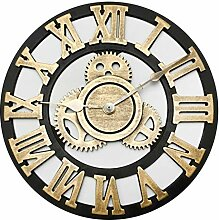 DUS Wanduhr Zahnrad Holz Vintage Uhr ohne