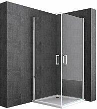 Duschabtrennung 90x90 cm Eckeinstieg ESG Klarglas
