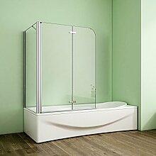 Duschabtrennung Badewannenaufsatz 75x110x140cm Eck