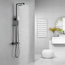 Duscharmatur Duschsystem mit Thermostat Schwarz