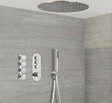 Duscharmatur mit Drucktasten 3 Funktionen, inkl.