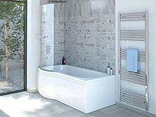 Duschbadewanne 170x85 cm L mit Badewannenaufsatz -