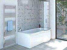 Duschbadewanne 170x85 cm R mit Badewannenaufsatz -